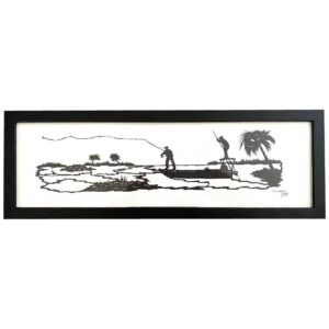 silhouette of two men fishing on a boat