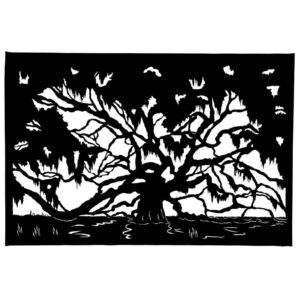 silhouette of a weeping willow in a river