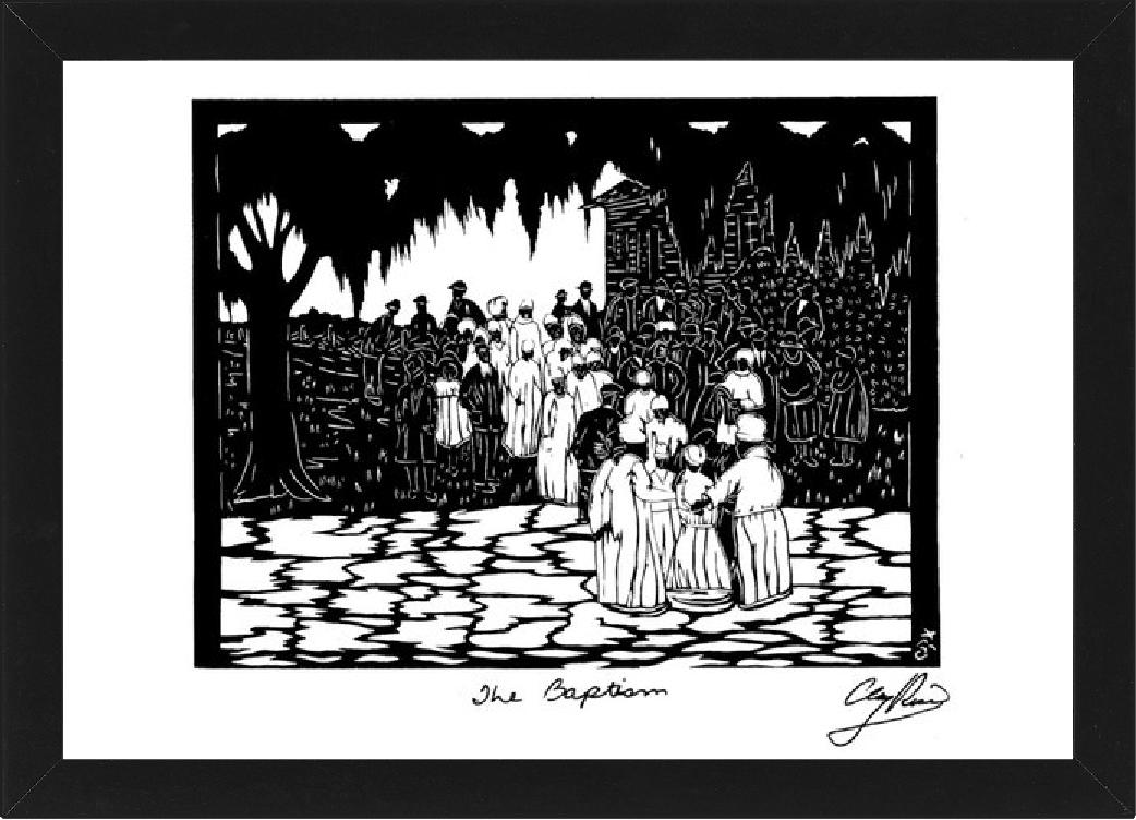 outline image of baptism