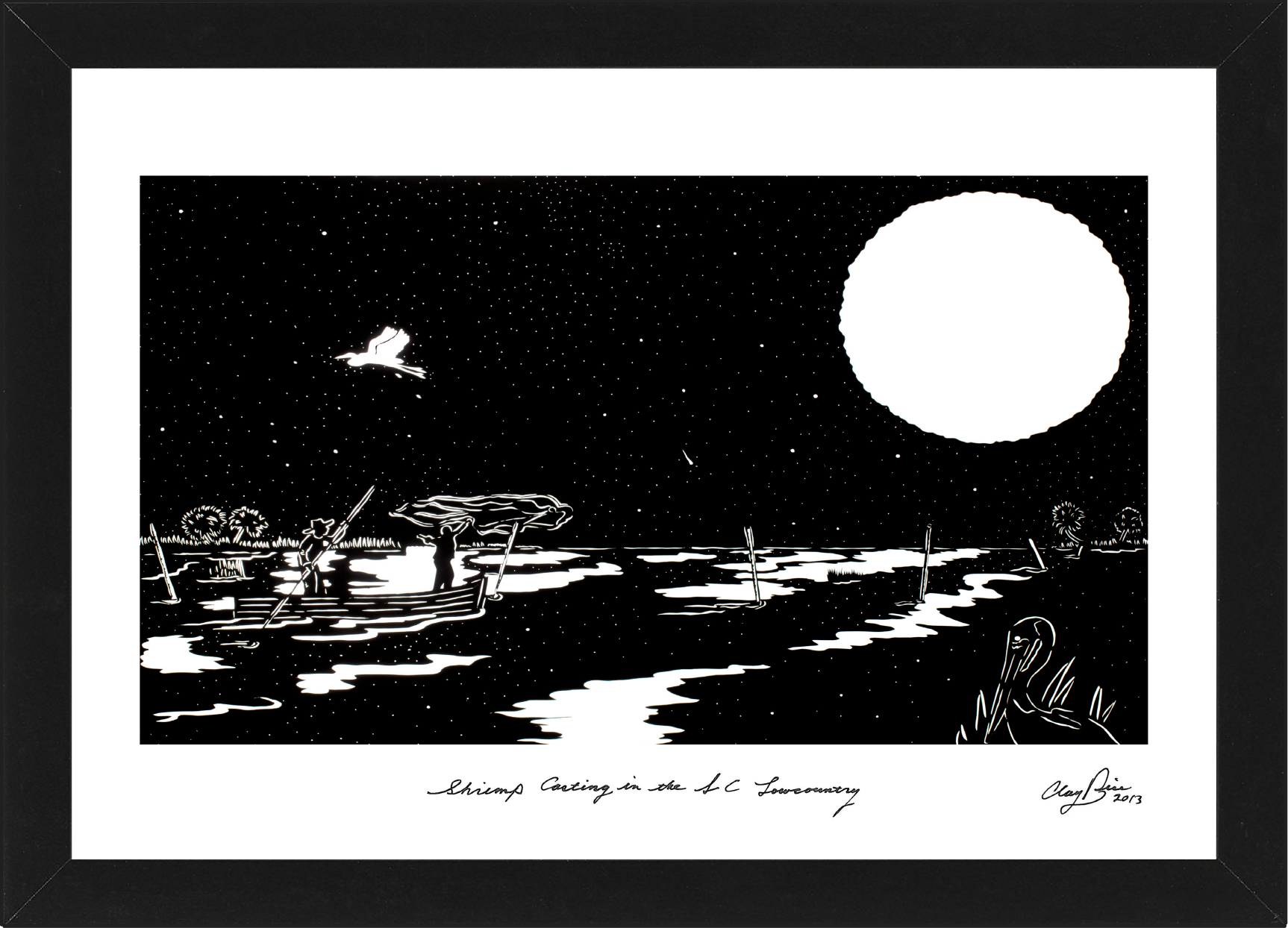 two men on a boat at night