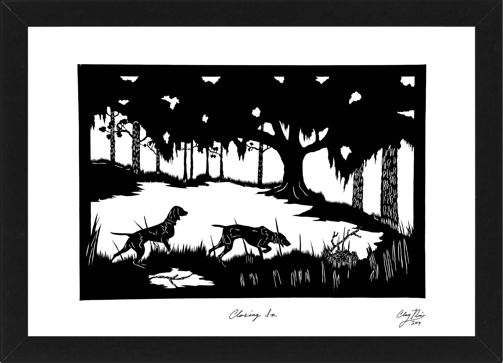 animal art of two dogs in the woods