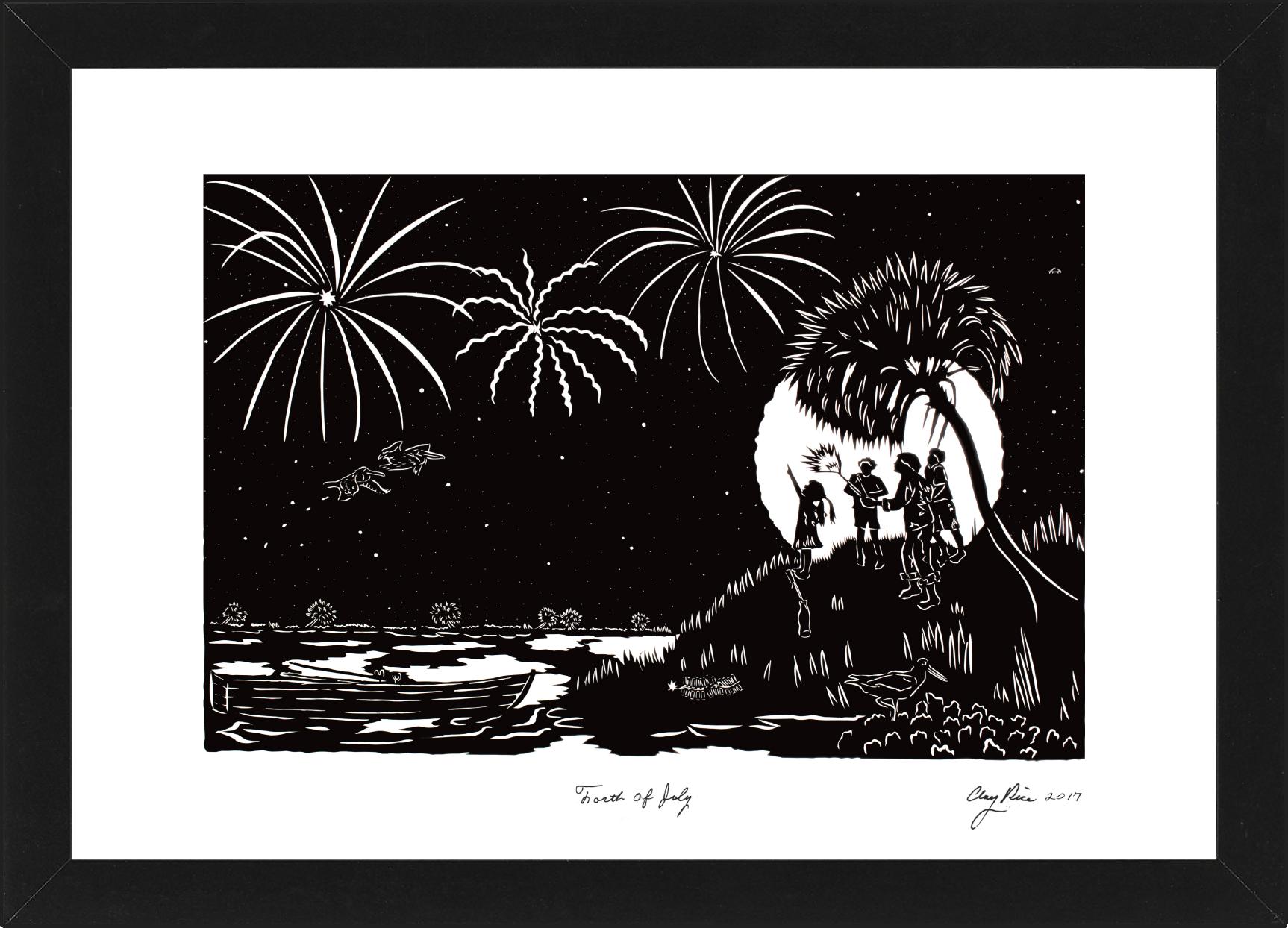 silhouette of people lighting fireworks