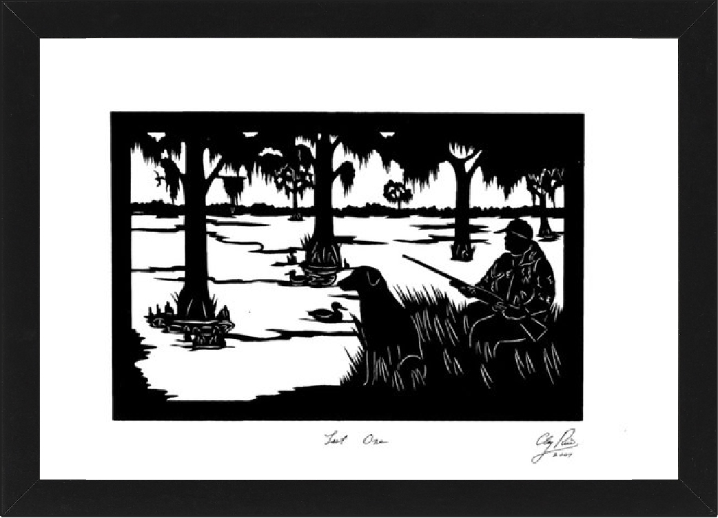 silhouette of man and his dog hunting in the woods