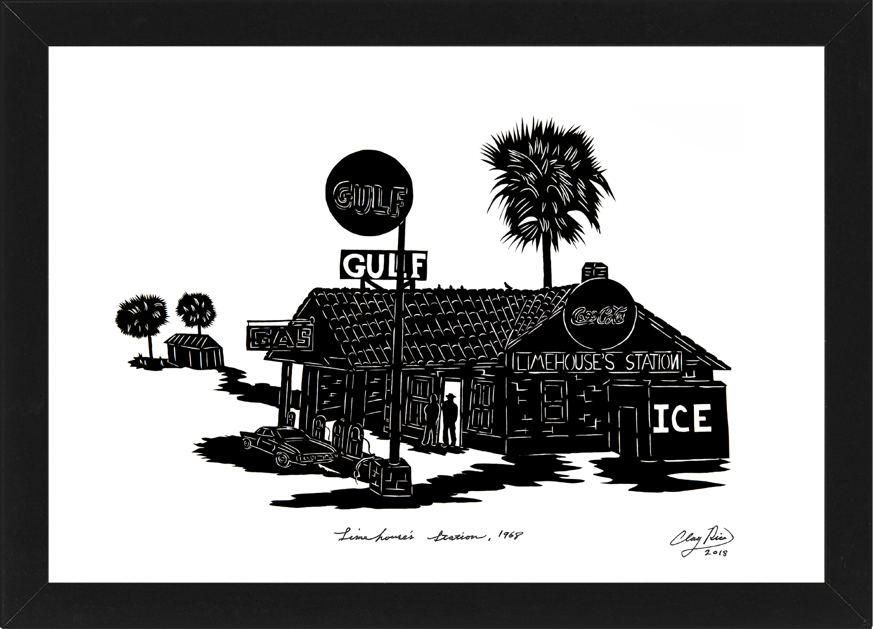 silhouette art of a gulf gas station