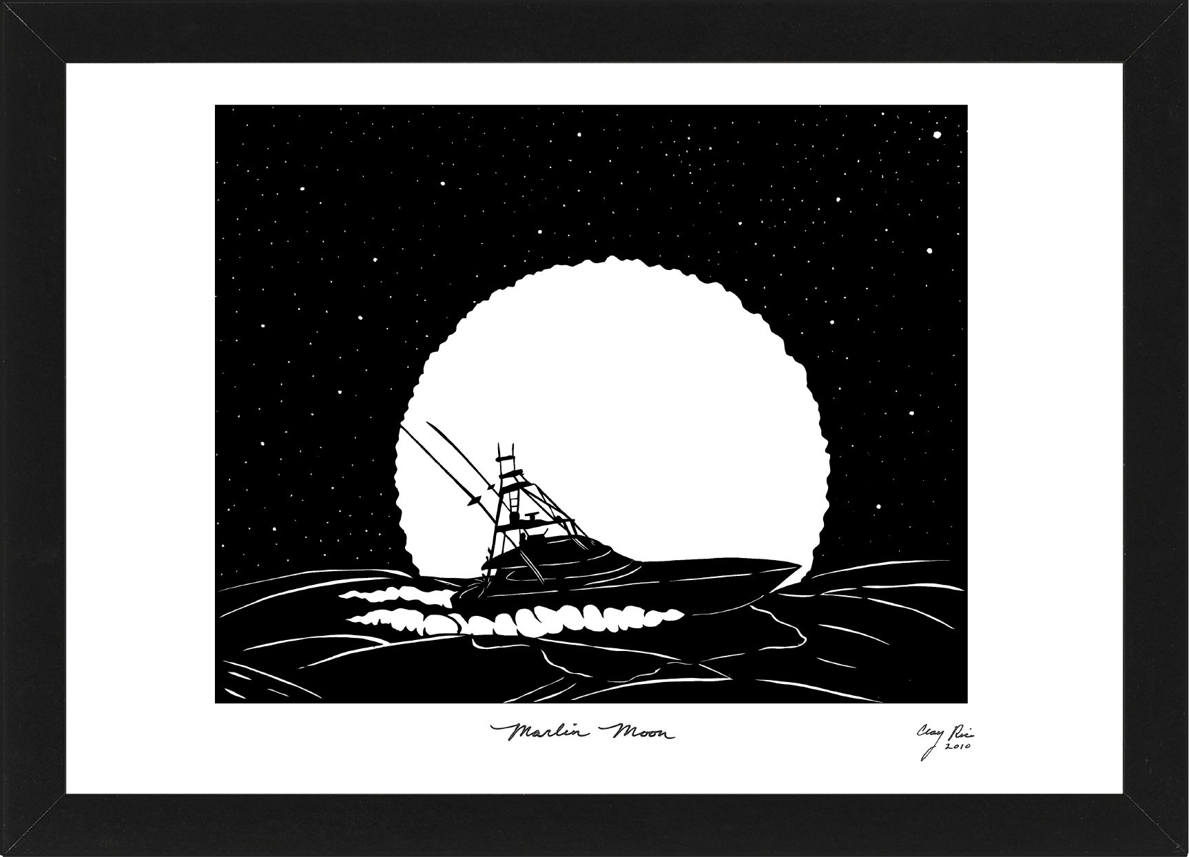 cut out of ship on the ocean at night