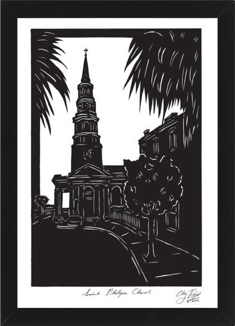 Saint Phillip's framed image cut from black paper