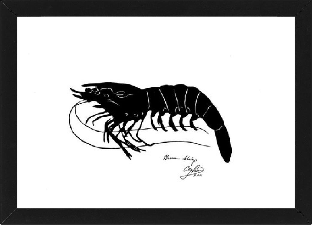 black paper cut out of a shrimp