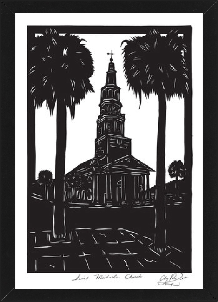 silhouette image of st. michael's church