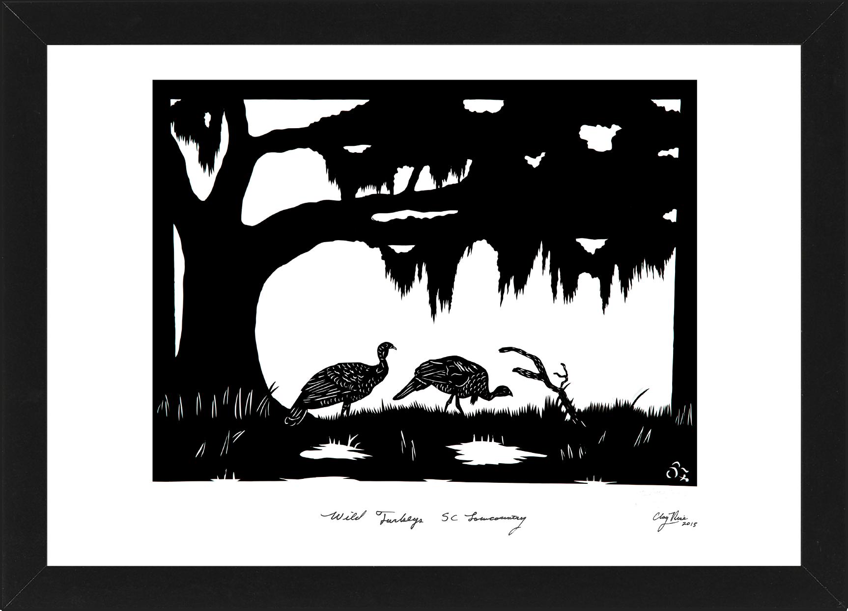 silhouette of two turkeys under a tree